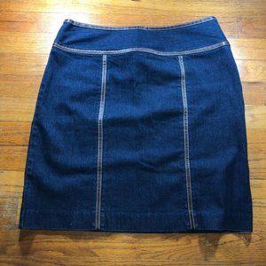 Michael Kors Denim Mini Skirt Leather Trim